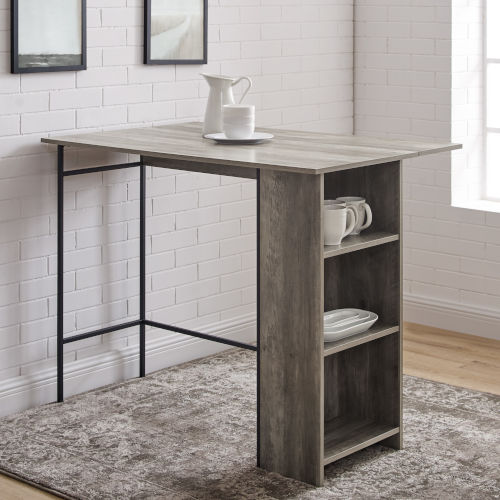 Lena Gray and Black Counter Height Dining Table