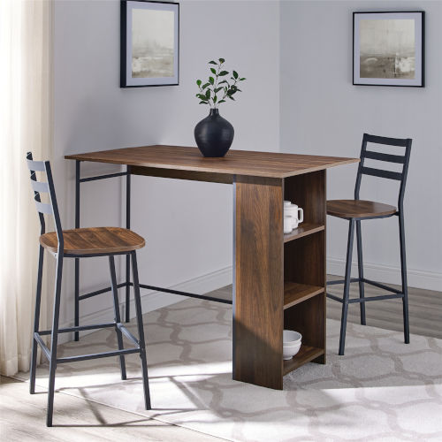 Dark Walnut and Black Drop Leaf Counter Table Set, 3-Piece
