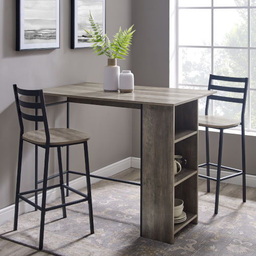 Gray and Black Drop Leaf Counter Table Set, 3-Piece