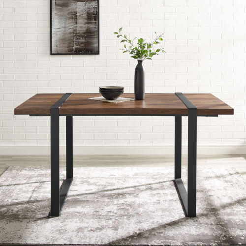 Urban Blend Dark Walnut and Black Dining Table