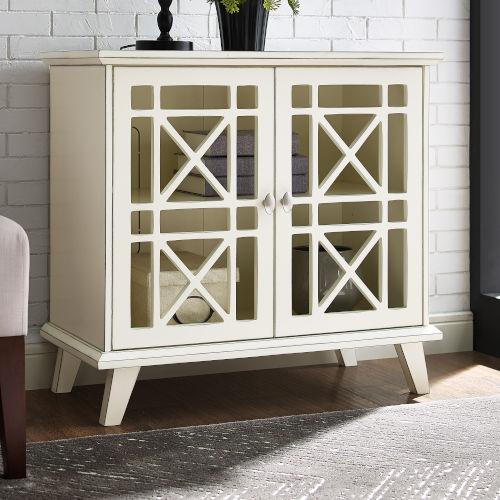 Antique White Accent Storage Cabinet