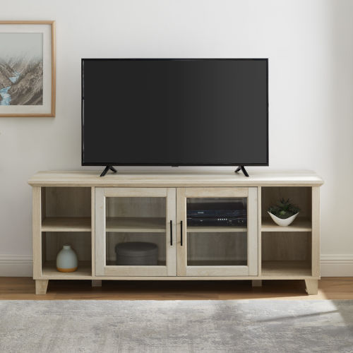 Columbus White Oak TV Stand with Middle Door