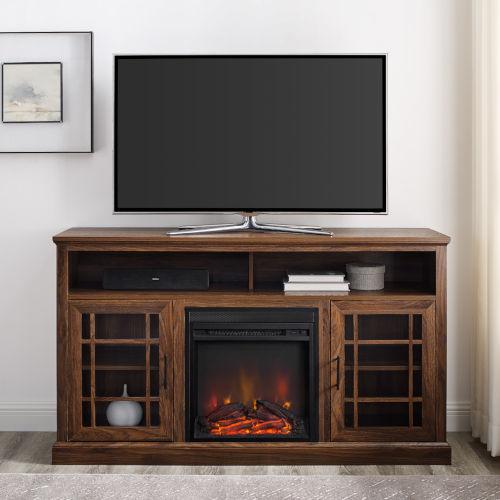 Hazel Dark Walnut Fireplace TV Stand