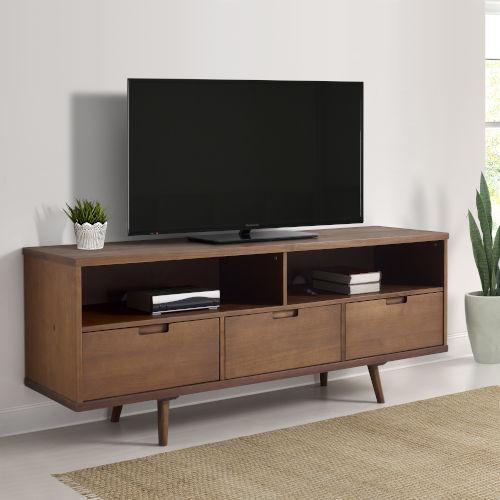 Ivy 58-inch 3 Drawer Mid Century Modern TV Stand - Walnut
