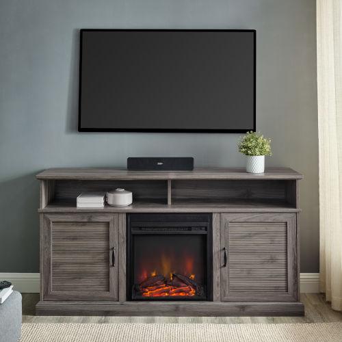 Dayton Slate Gray Fireplace TV Stand