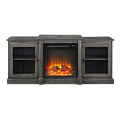 Slate Gray 60-Inch Classic Tiered Top Fireplace TV Console