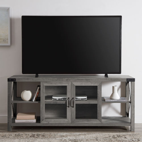 Gray X Frame TV Stand