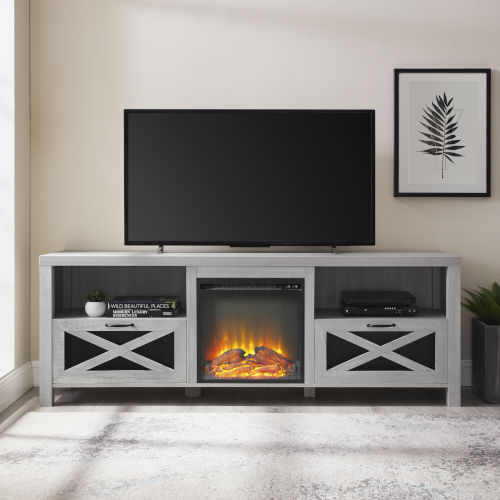 Abilene Stone Gray Fireplace TV Stand