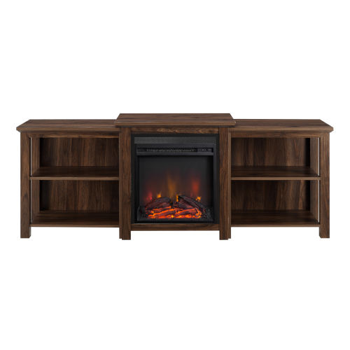 Dark Walnut 70-Inch Tiered Top Open Shelf Fireplace TV Console