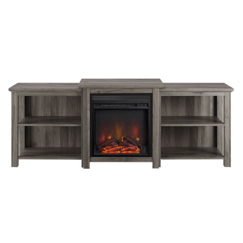 Slate Gray 70-Inch Tiered Top Open Shelf Fireplace TV Console