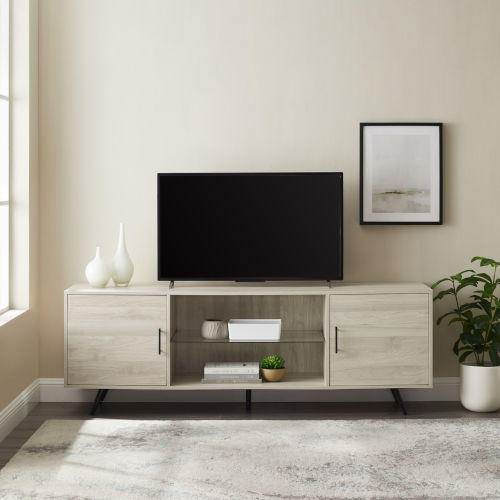 Nora Birch Two Door TV Stand with Glass Shelf