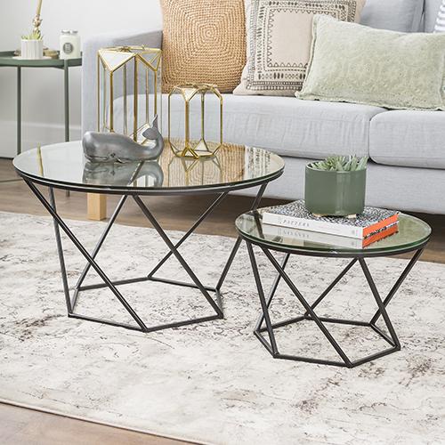 Geometric Glass Nesting Coffee Tables - Black