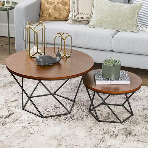 Geometric Wood Nesting Coffee Tables - Walnut/Black