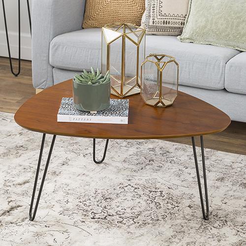 32-Inch Hairpin Leg Wood Coffee Table - Walnut