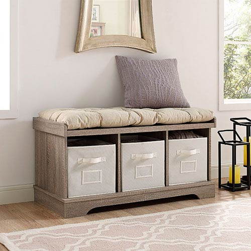 42-inch Wood Storage Bench with Totes and Cushion - Driftwood