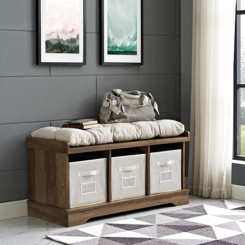 42-Inch Wood Storage Bench with Totes and Cushion - Rustic Oak