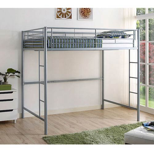 Silver Metal Full Loft Bed