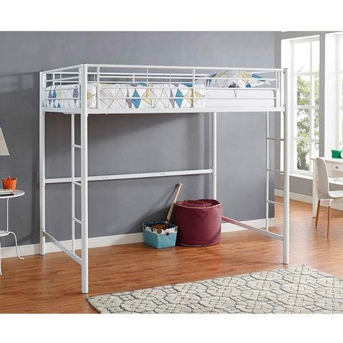 White Metal Full Loft Bed