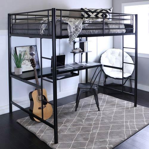 Black Metal Full Loft Bed with Workstation