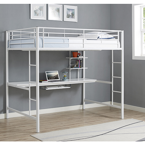 Premium Metal Full Size Loft Bed with Wood Workstation - White