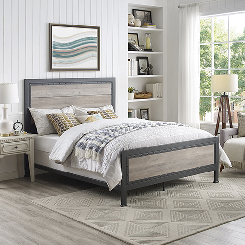 Walker Edison Furniture Co. Queen Size Industrial Wood and Metal Bed - Grey Wash