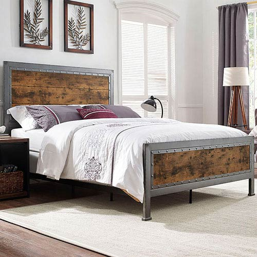 Walker Edison Furniture Co Queen Size Wood And Metal Bed Brown