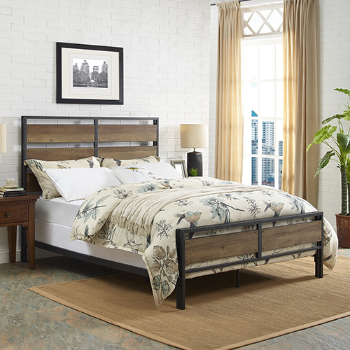 Queen Size Metal and Wood Plank Bed - Rustic Oak