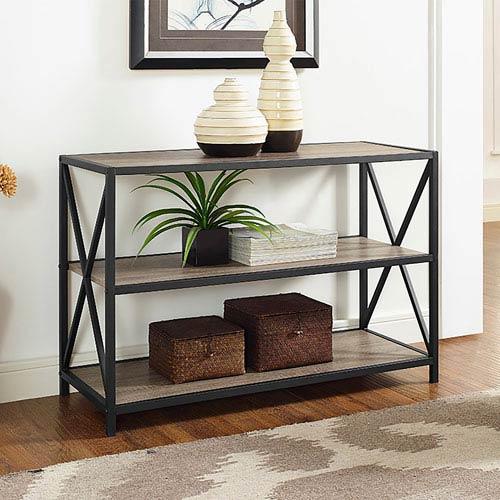 40 Inch X Frame Metal And Wood Media Bookshelf