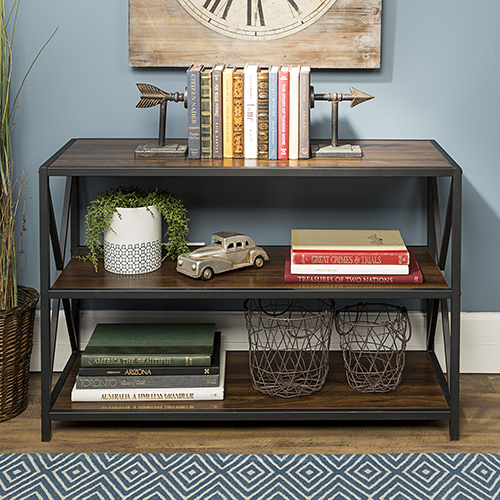 Walker Edison Furniture Co. 40-Inch X-Frame Metal and Wood Media Bookshelf - Dark Walnut