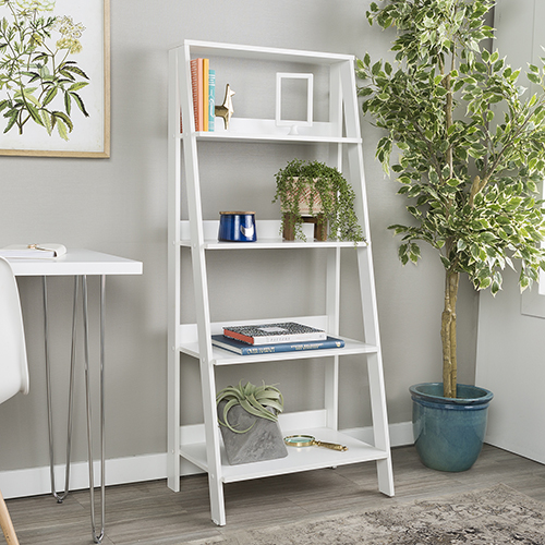 55-Inch Wood Ladder Bookshelf - White