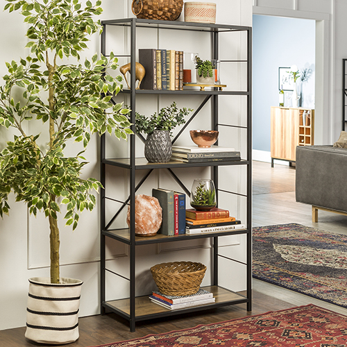 63-Inch Rustic Metal and Wood Media Bookshelf - Rustic Oak