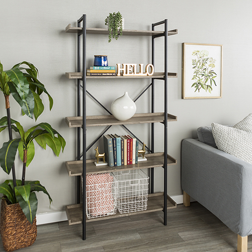 Walker Edison Furniture Co. 68-Inch Urban Pipe Bookshelf - Driftwood