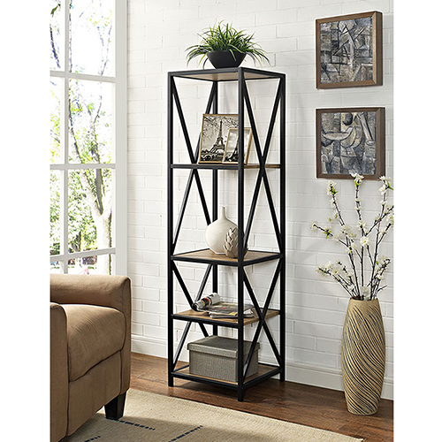 Walker Edison Furniture Co. 61-Inch Tall X-Frame Metal and Wood Media Bookshelf - Barn wood