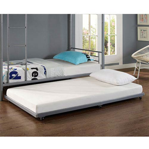 Twin Metal Trundle Bed - Silver