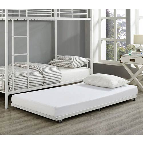 Walker Edison Furniture Co. White Twin Roll-Out Trundle Bed Frame