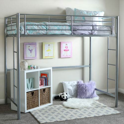 Silver Metal Twin Loft Bed
