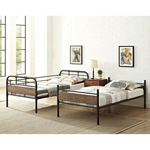 Walker Edison Furniture Co Twin Over Twin Metal Wood Bunk Bed Black