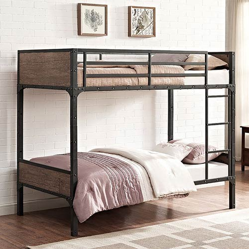 Walker Edison Furniture Co Twin Over Twin Rustic Wood Bunk Bed