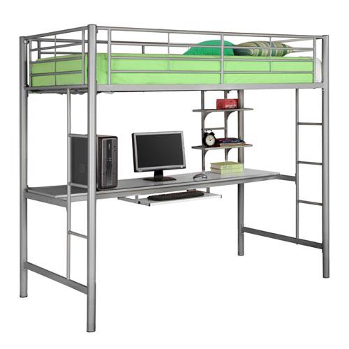 Walker Edison Furniture Co. Silver Sunrise Metal Twin/Workstation Bunk Bed