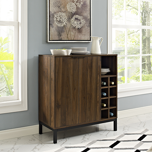 Bar Cabinet with Wine Storage - Dark Walnut