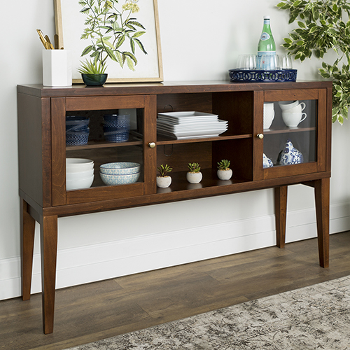 Walker Edison Furniture Co. 52-Inch Hepworth Wood Buffet with Tapered Legs - Walnut