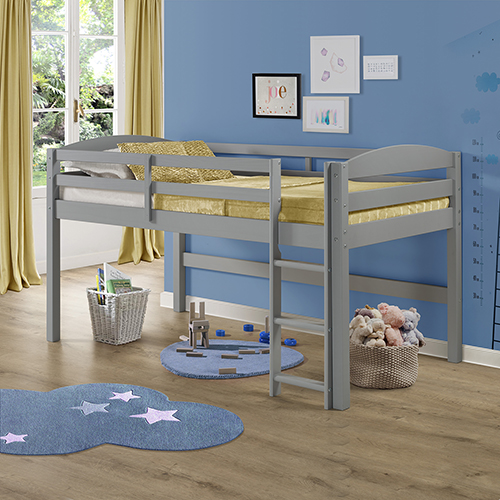 Solid Wood Low Loft Twin Bed - Grey
