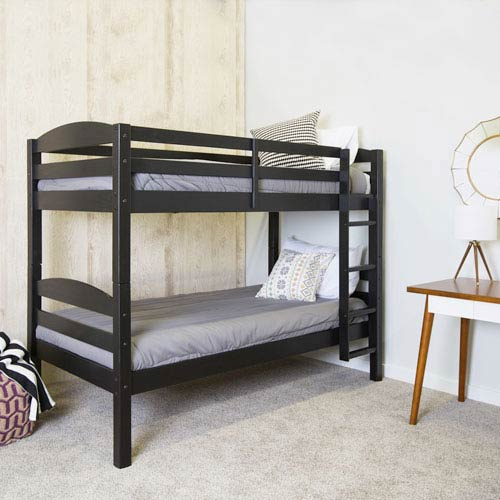 Walker Edison Furniture Co Solid Wood Bunk Bed Black Bwstotbl