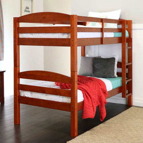 Cherry Twin Solid Wood Double Bunk Bed
