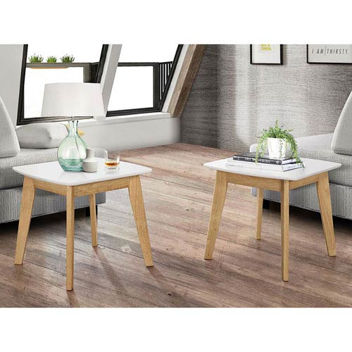 Walker Edison Furniture Co. Retro Modern End Table, Set of 2 - White/Natural