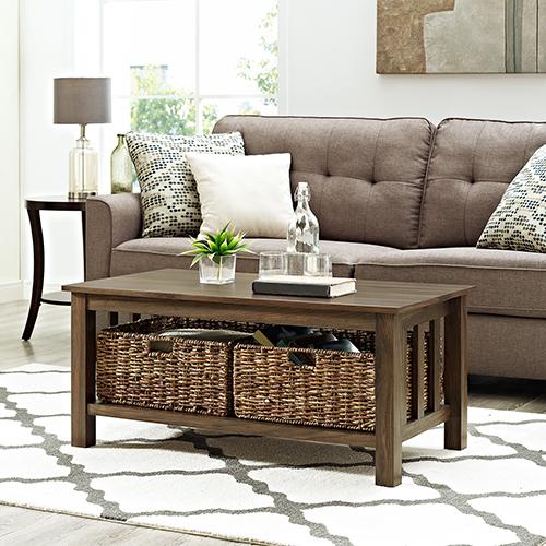 40-Inch Wood Storage Coffee Table with Totes - Dark Walnut