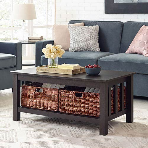 40-inch Wood Storage Coffee Table with Totes - Espresso