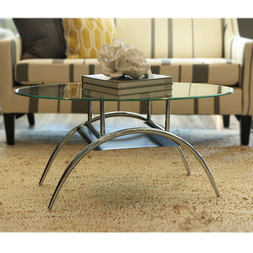 Black Mesh Clear Coffee Table