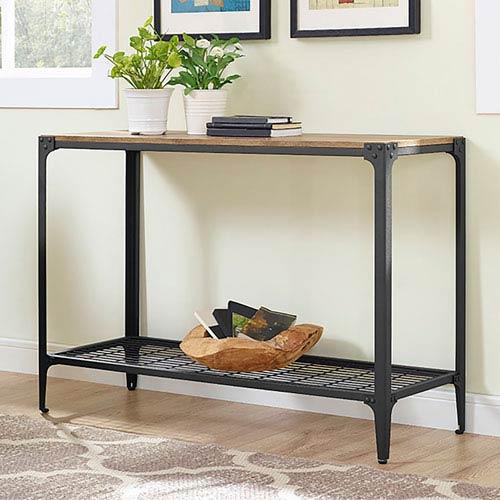 Angle Iron Rustic Wood Sofa Entry Table - Barnwood