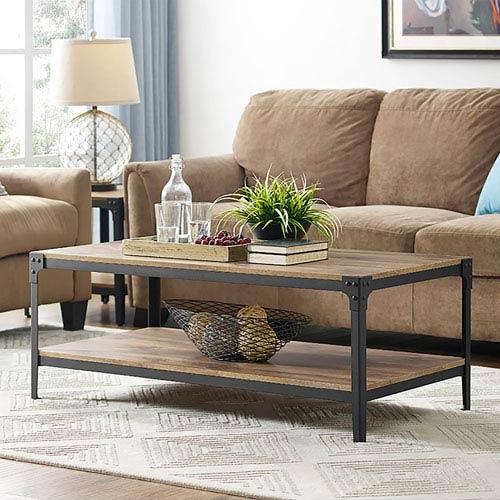 Angle Iron Rustic Wood Coffee Table - Barnwood
